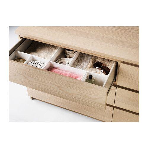 MALM Commode 6 tiroirs, plaqué chêne blanchi | Malm, Dresser and ...