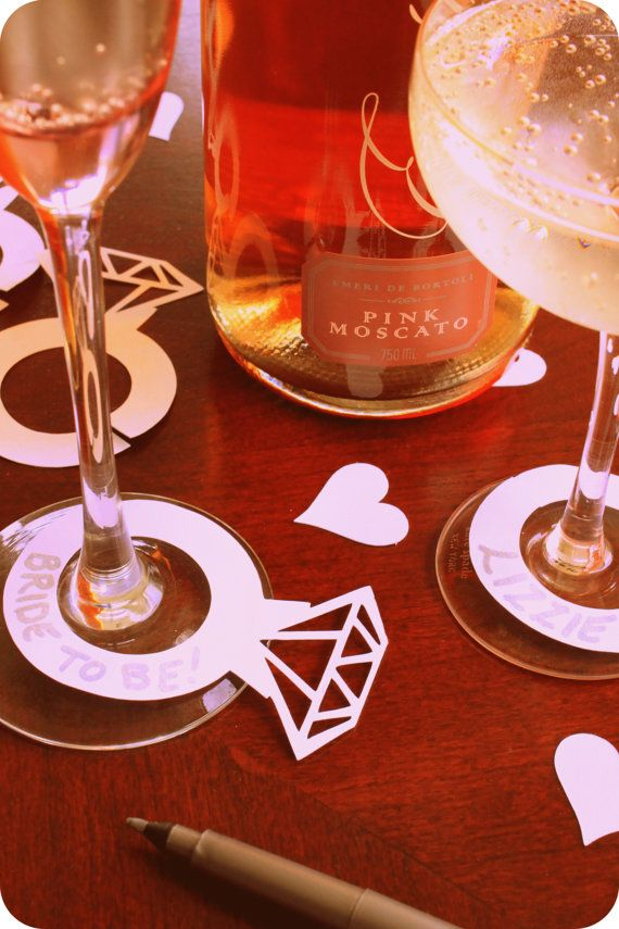 Marcadores divertida bebida para vasos de champaña y vinos! ¡ Perfecto para una fiesta de compromiso, despedida de soltera o despedida de