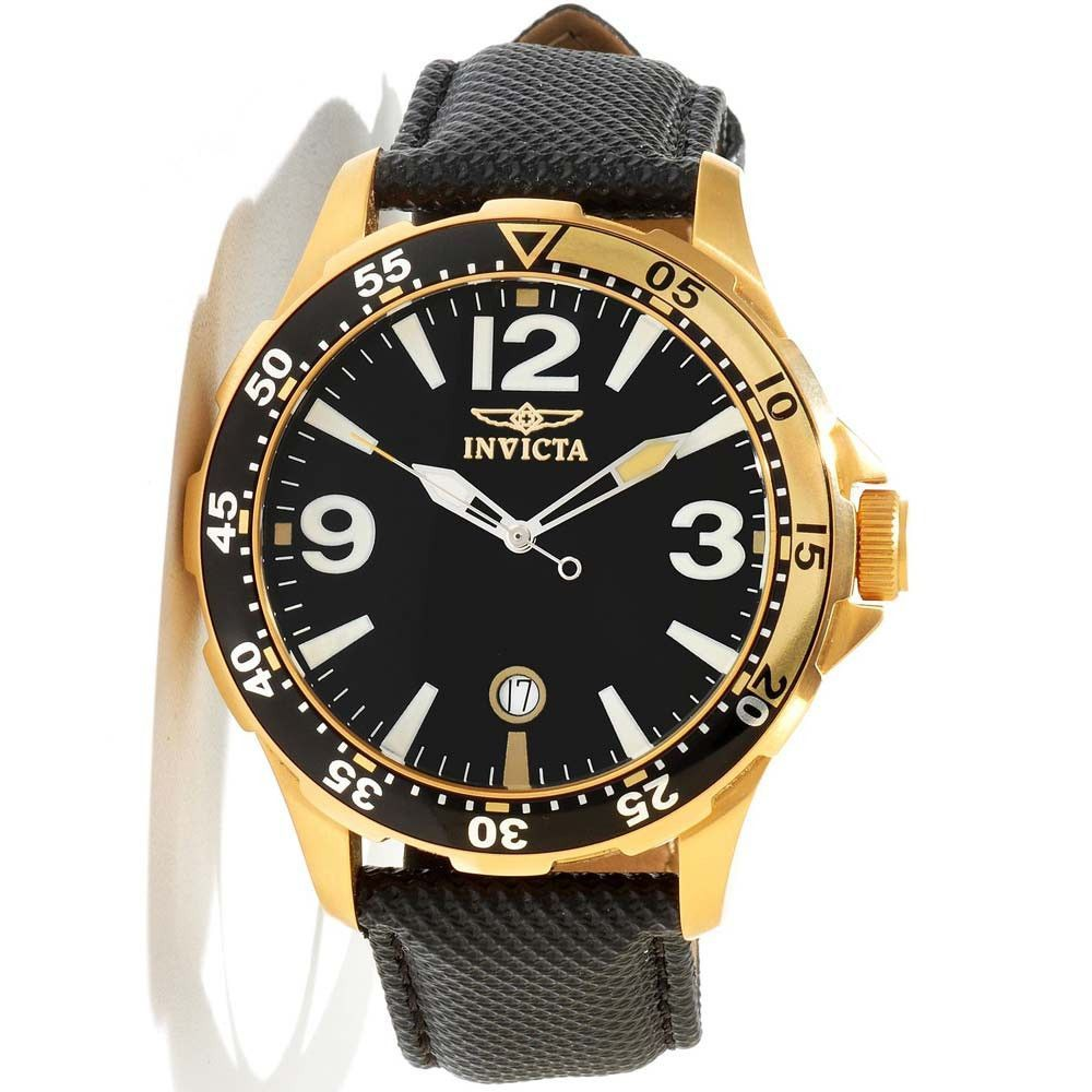 Invicta 12123 Men's Specialty Gold Plated Steel Black Dial Leather Strap Watch