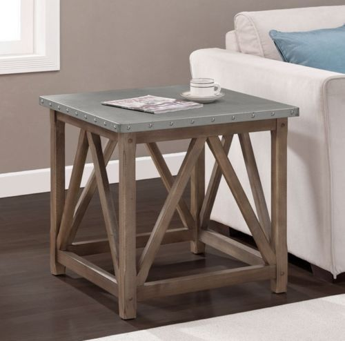 Unique Side Table Zinc Wred Top Nailhead Detailing Weathered Brown Finish New