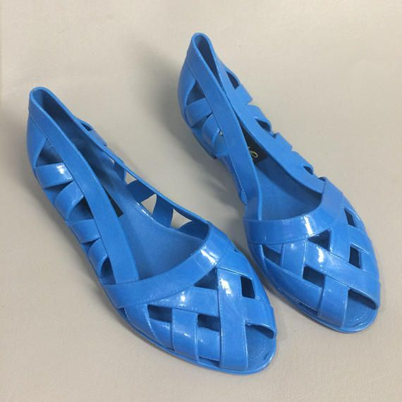 7262219467e0  39.00 Blue 80s Jelly Shoes. Love Brand Jellies. Blue Jelly Sandals. 80s  Jellies