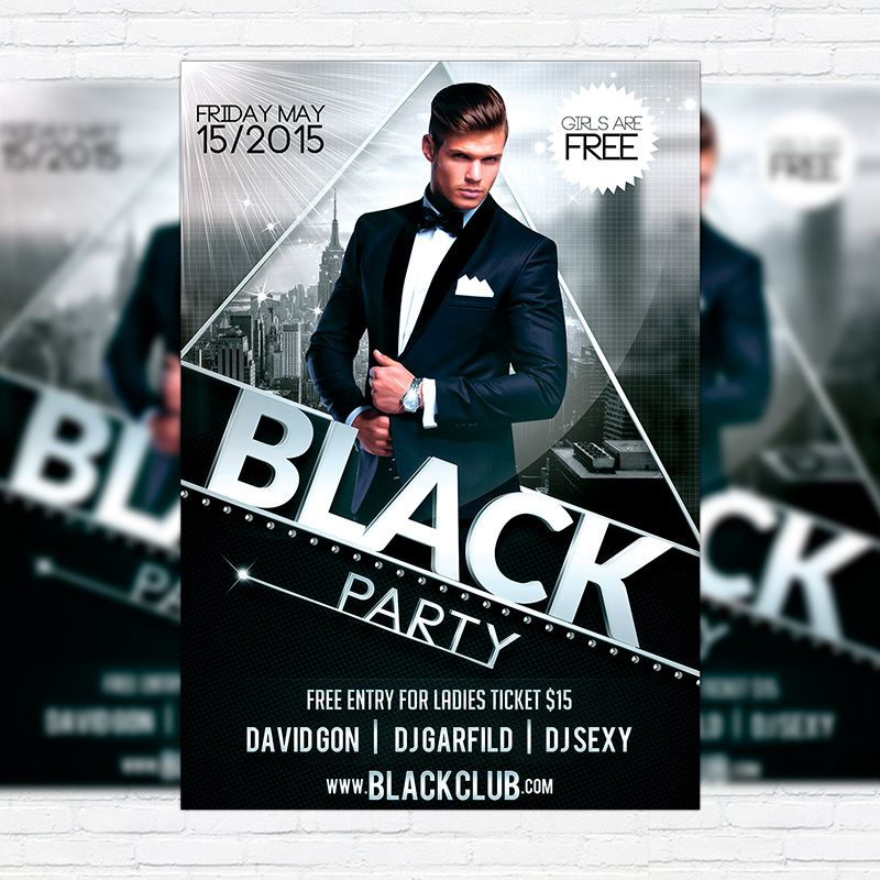 Black Party  Premium Flyer Template  Facebook Cover Http