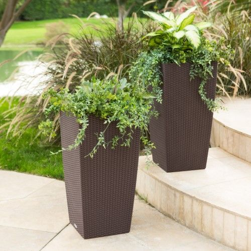 Square Lechuza Cubico Cottage Self Watering Resin Planter Brown