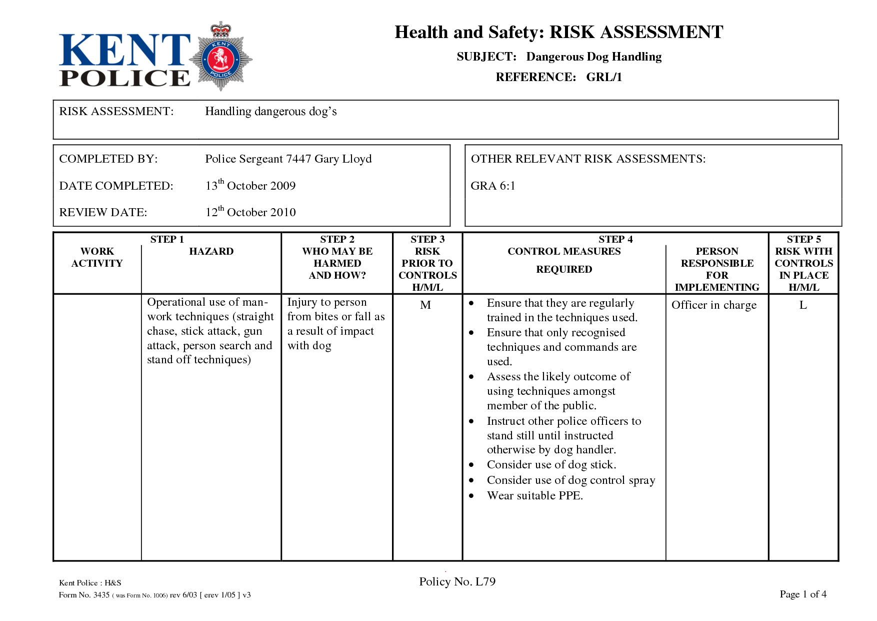 Risk Assessment Matrix Police Pursuit