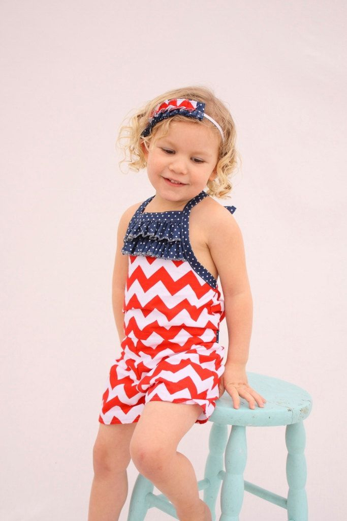 82a4c18ec23 Patriotic girls Romper