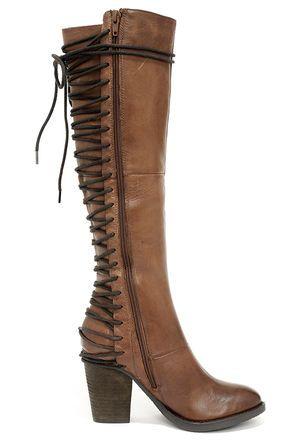 de83a306151 Steve Madden Rikter Cognac Leather Knee High Heel Boots