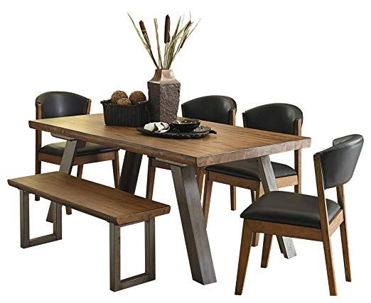Amazon Com Holiday Mid Century Industrial 6pc Dining Set Table
