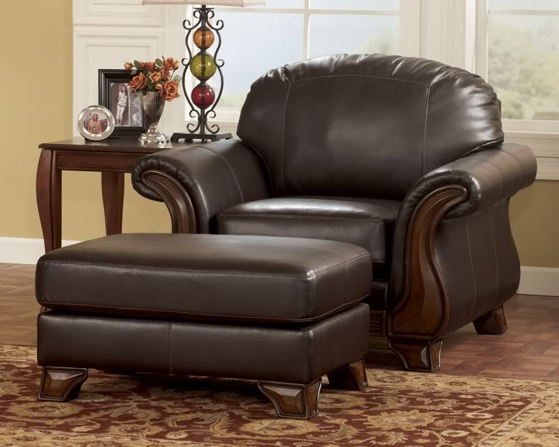 Old World Wood Trim Faux Leather Sofa Couch Set Living Room
