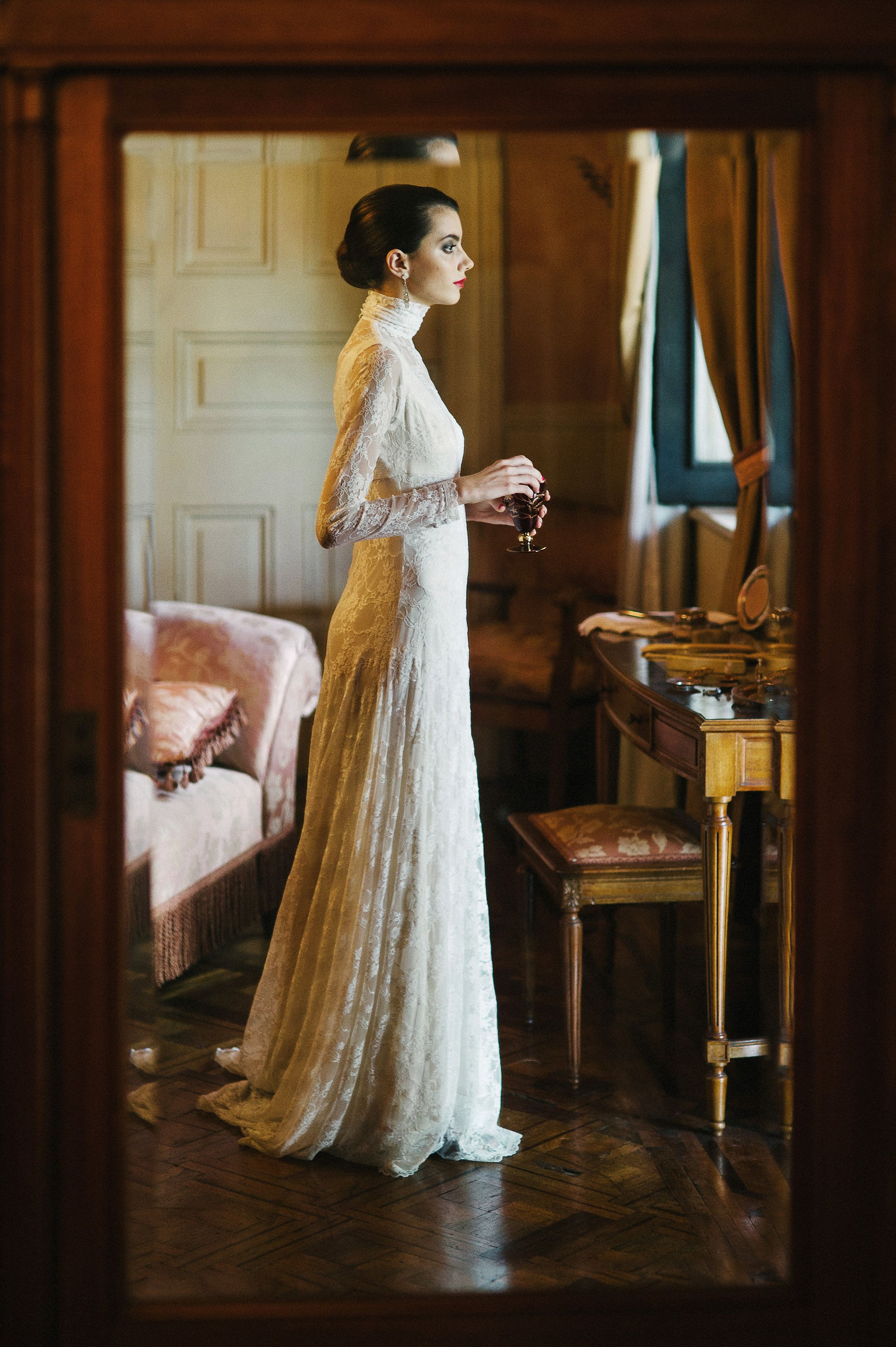 Spanish wedding gown long sleeves lace luxury gown luxury