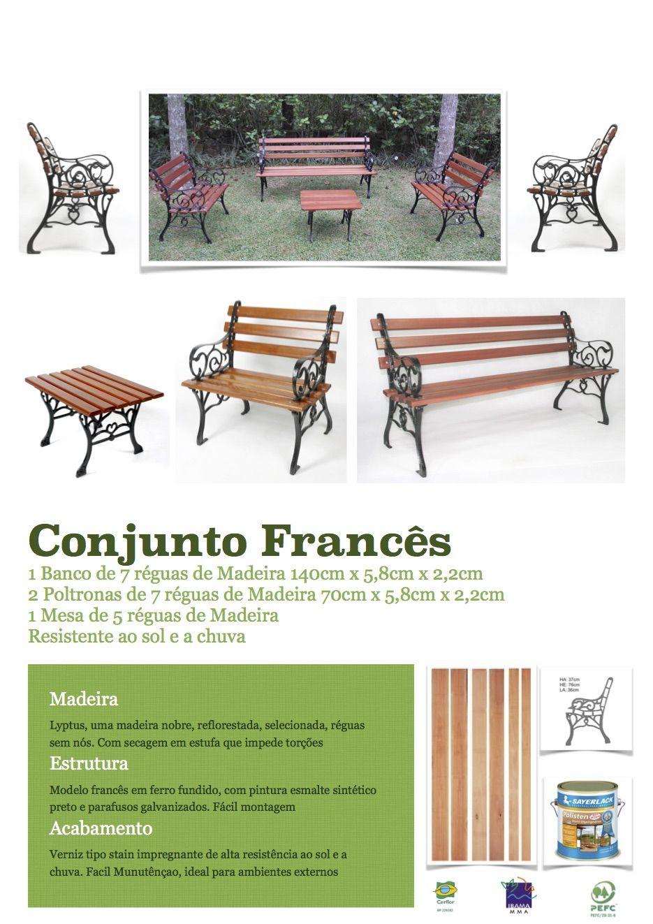 Conjunto Frances Jardim Madeira Ferro Fundido 3 Banco 1 Mesa R