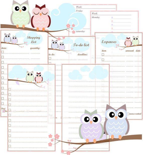 personal filofax printable inserts pastel owls includes week on two pages to do list. Black Bedroom Furniture Sets. Home Design Ideas