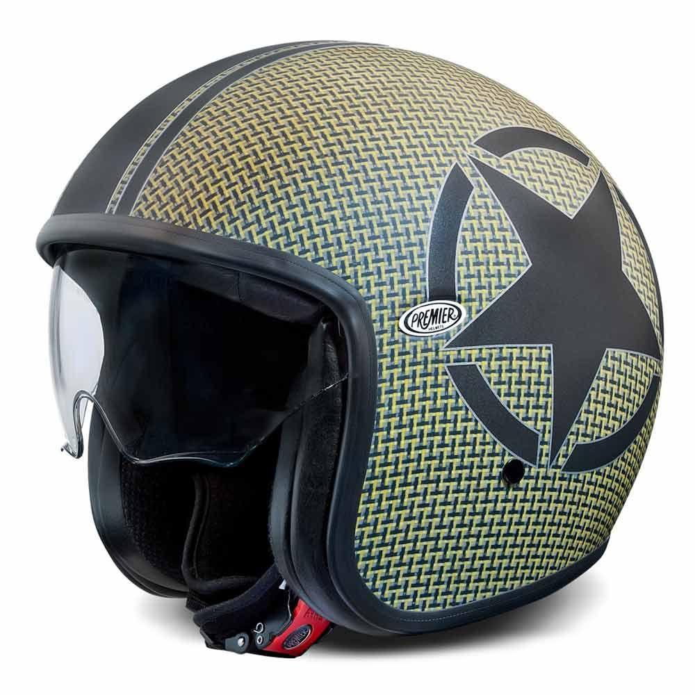 Premier Jet Vintage Helmet Star Carbon Kevlar Open Face Motorcycle Helmets Free Uk Delivery Vintage Helmet Helmet Open Face Motorcycle Helmets