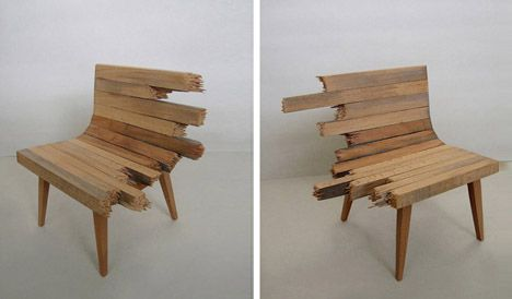 unique wood furniture designs. Israeli Designer Itay Ohaly Has Proposed A Series Of Chairs Called Fracture, Made Benches Various Materials Which Are Torn Or Smashed Into Individual Unique Wood Furniture Designs W