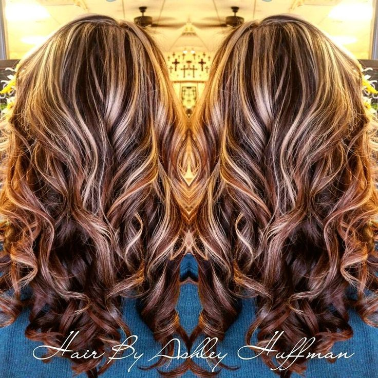 Chocolate Cherry Brown Hair With Chamomile Blonde Highlights Night
