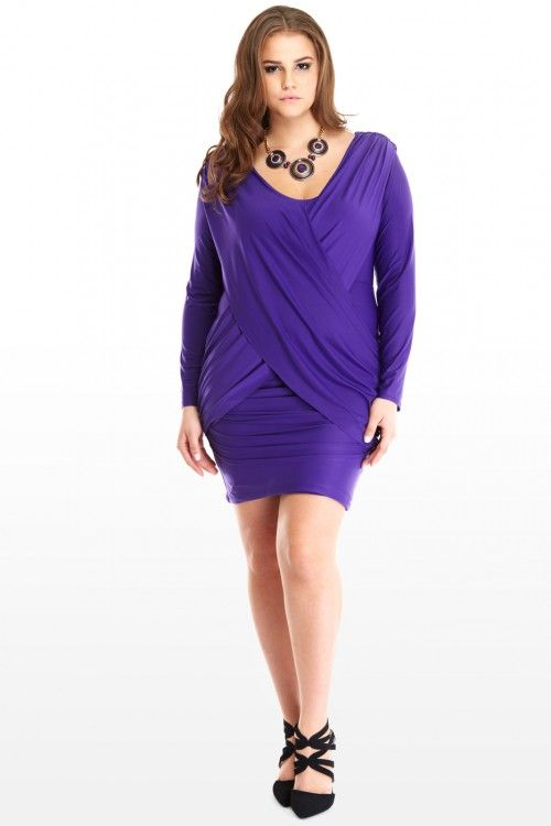 I am too excited to wear this sexy ass dress.  Plus Size Cross the Runway Ruched Dress | Fashion To Figure