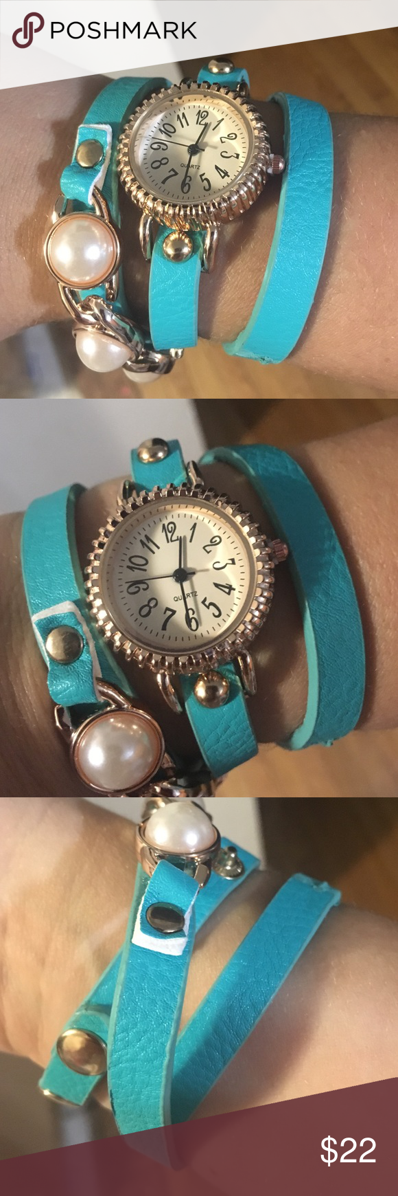 Teal and gold wrap watch This faux leather wrap watch snaps after wrapping twice, and has two snap sizes. Cute pearl accents- adorable statement piece! Accessories Watches