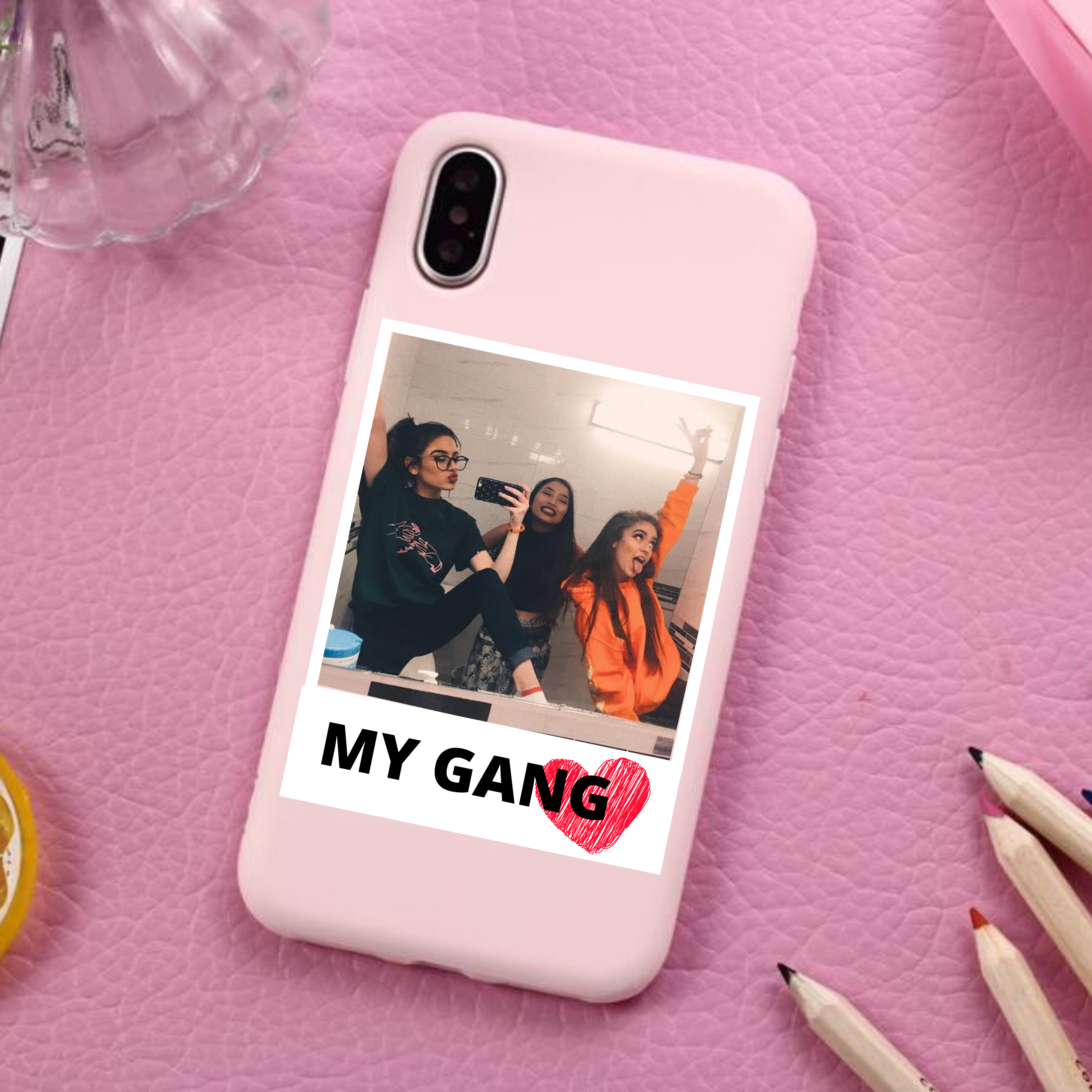 iPhone Bff Squad Poloroid Polaroid Photo and Text Phone Case For