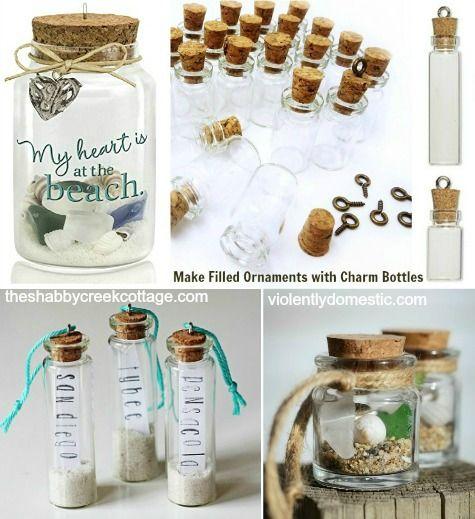 Diy Beach Memory Ornaments With Mini Jar Bottles Beach Diy Mini Jars Beach Crafts