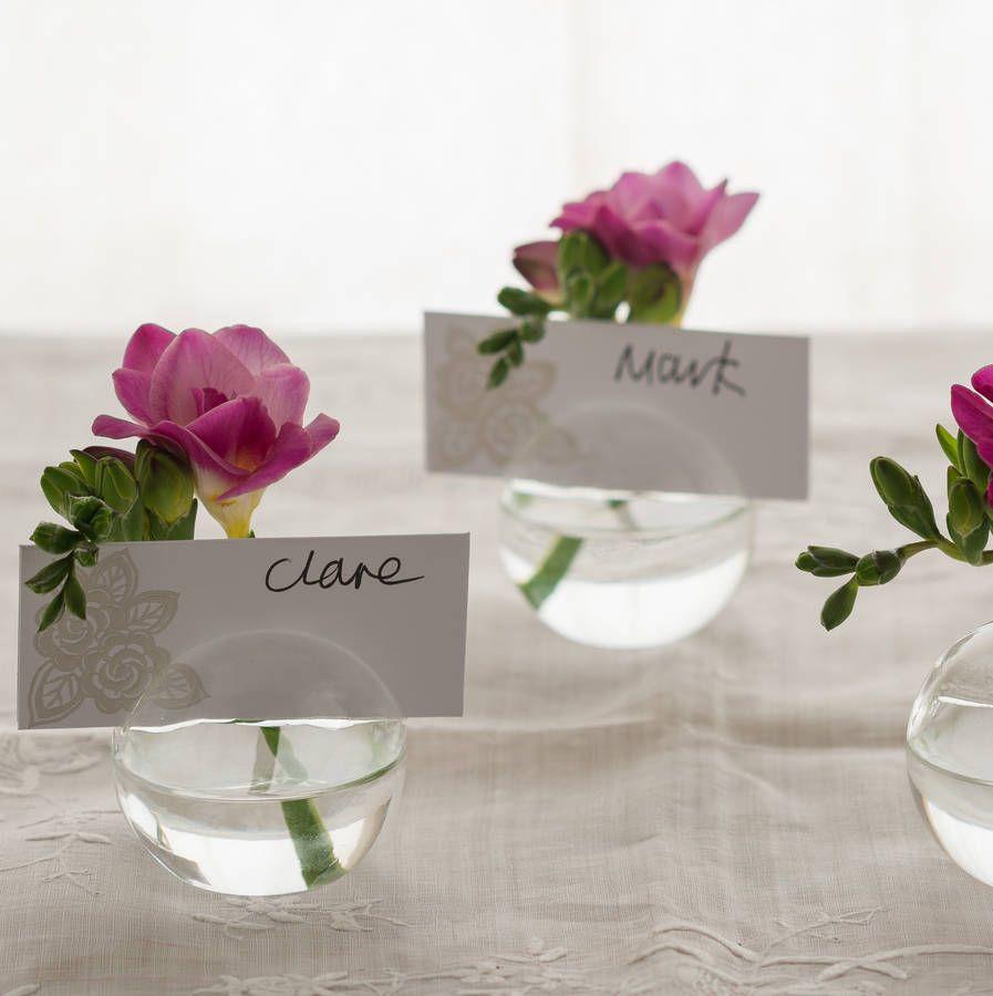 Flower bud vases name card holder wedding pinterest place glass flower bud vase place cards name holder reviewsmspy