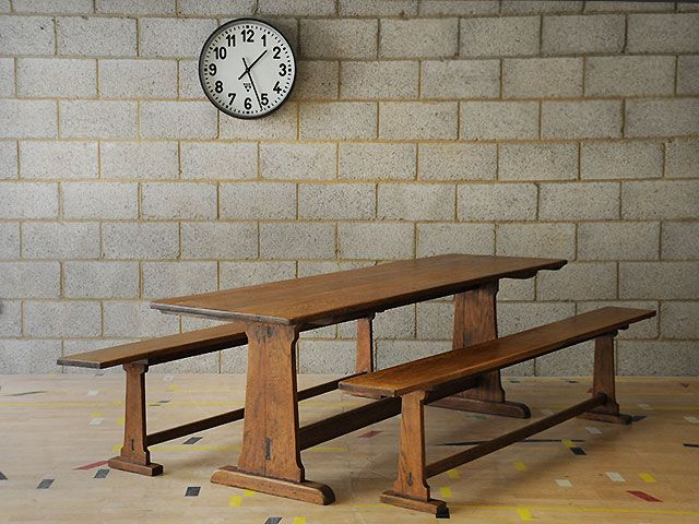 Oak refectory table with a pair of matching benches