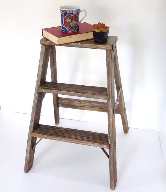 Rustic Wooden Step Ladder, Vintage Wood Stool, Shabby