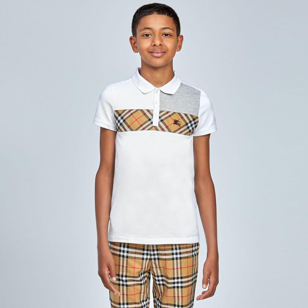 52226463 Burberry - Boys White JEFF Polo Shirt | | LOOKBOOK GIRLS BOYS | Mens ...