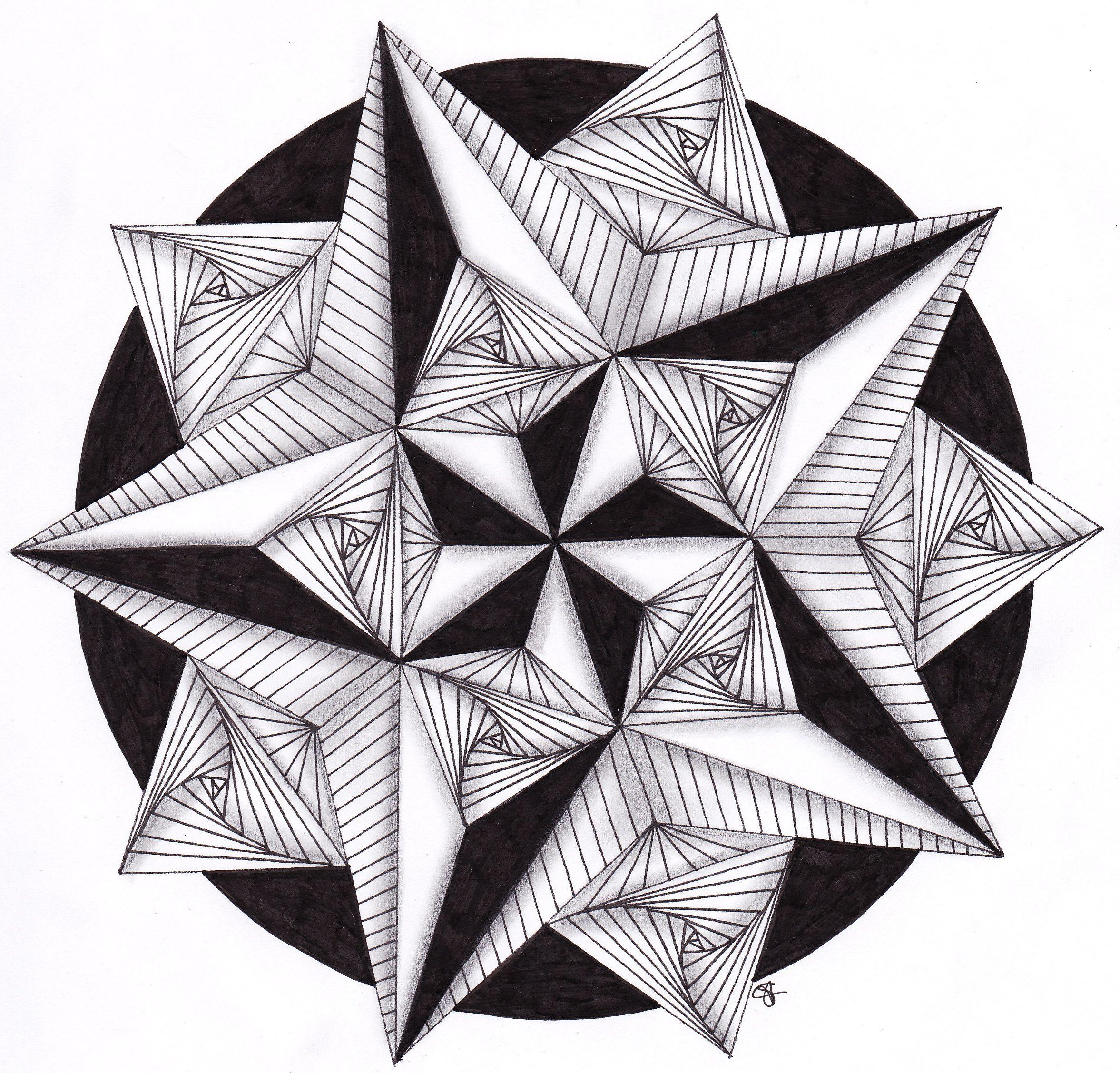 Hand Drawn Mandala Star Filled With Zentangle Patterns Zentangle Patronen Mandala Kleurplaten Tekentechnieken