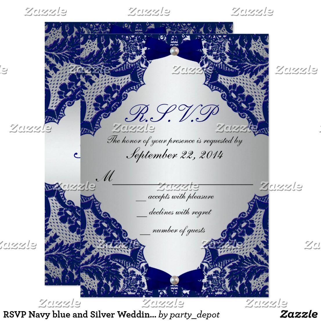 RSVP Navy blue and Silver Wedding Invitation