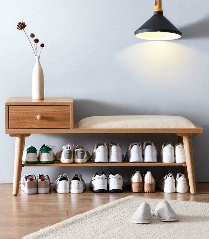 DENZI Fashion Solid Wood Sofa Stool Home Porch Storage Rack Change Shoe