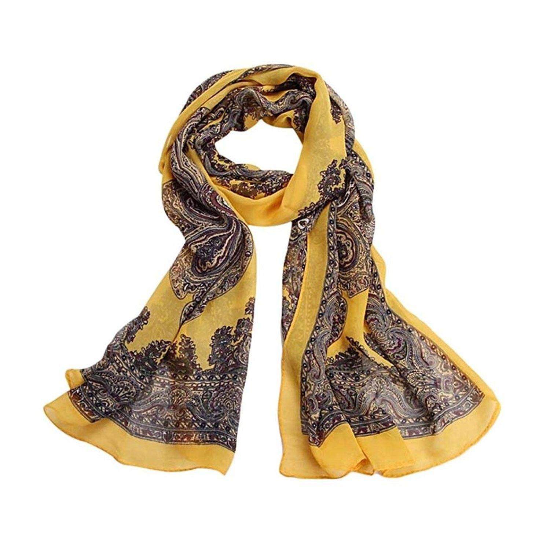Fashion Women Shawl Stole Scarves Pretty Long Soft Satin Printing Scarf Wrap