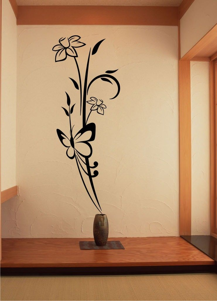 Stickonmania Com Vinyl Wall Decals Butterfly Flower Design 7 Sticker Wall Painting Decor Simple Wall Paintings Diy Wall Painting