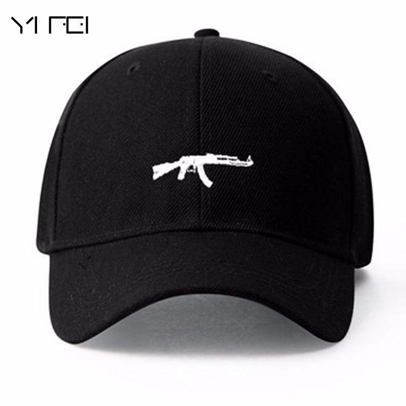 YIFEI 2017 Top Selling Uzi Gun Baseball Cap US Fashion  Ak47 Snapback Hip Hop Cap Curve Visor 6 Panel Hat Casquette De Marque #Affiliate