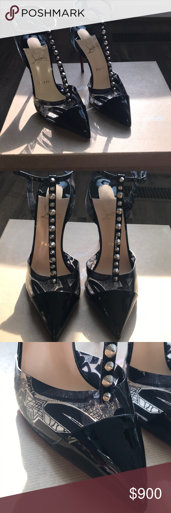 Christian Louboutin Nosy Spikes 100 Mm 39 A Pvc Slingback And Vamp Create A Modern Floating Effect For The Seductive Black Kidskin T Christian Louboutin Shoes Christian Louboutin Heels