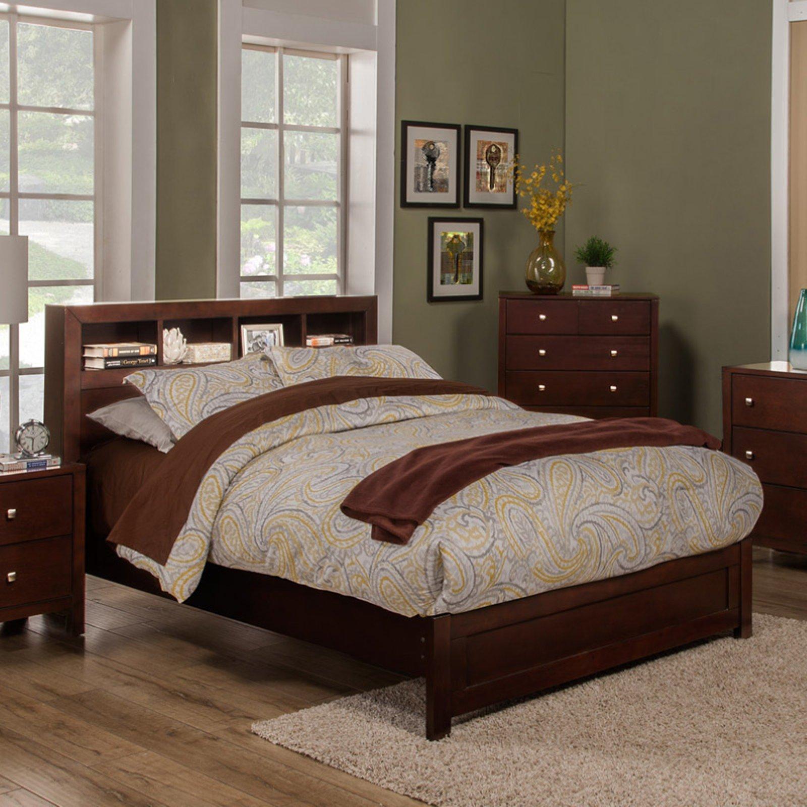 Alpine Furniture Solana Bookcase Platform Bed, Size Queen