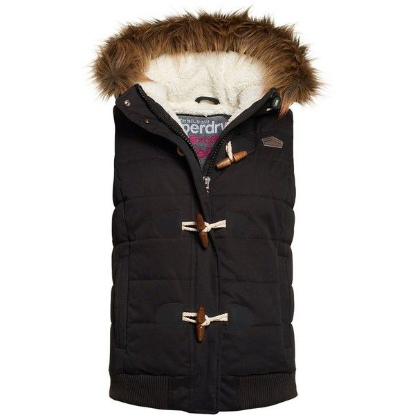 Superdry Microfibre Toggle Puffer Gilet ($110) ❤ liked on Polyvore featuring outerwear, vests, black, women, quilted vest, puffer vest, fleece lined vest, hooded puffer vest and zipper vest