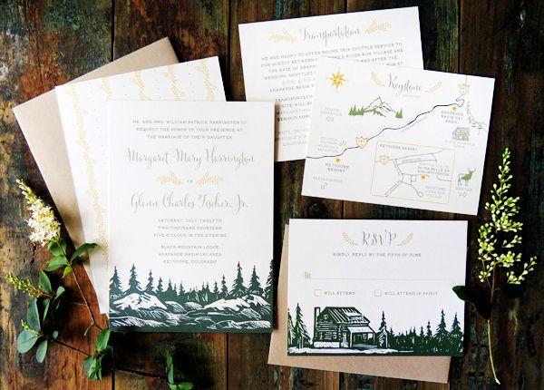 mountain wedding invitation ideas inspiration - Mountain Wedding Invitations