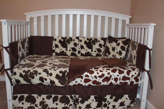Best Brown Cowhide Crib Baby Bedding Set Cow Farm 400 x 300