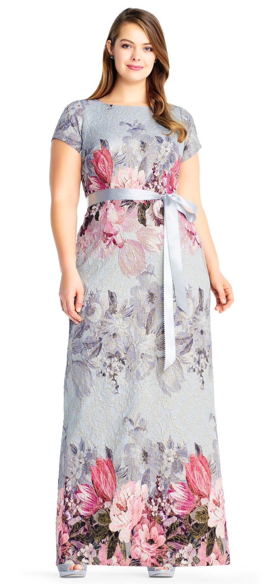 Adrianna papell floral matelasse gown with short sleeves