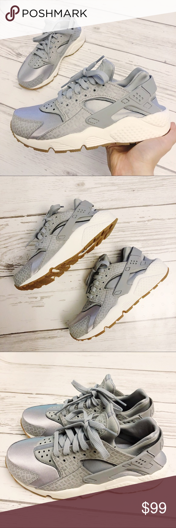 045a815efe5d NEW Nike Air Huarache Run Premium Wolf Grey sz 8 Nike WMNS Air Huarache Run  PRM