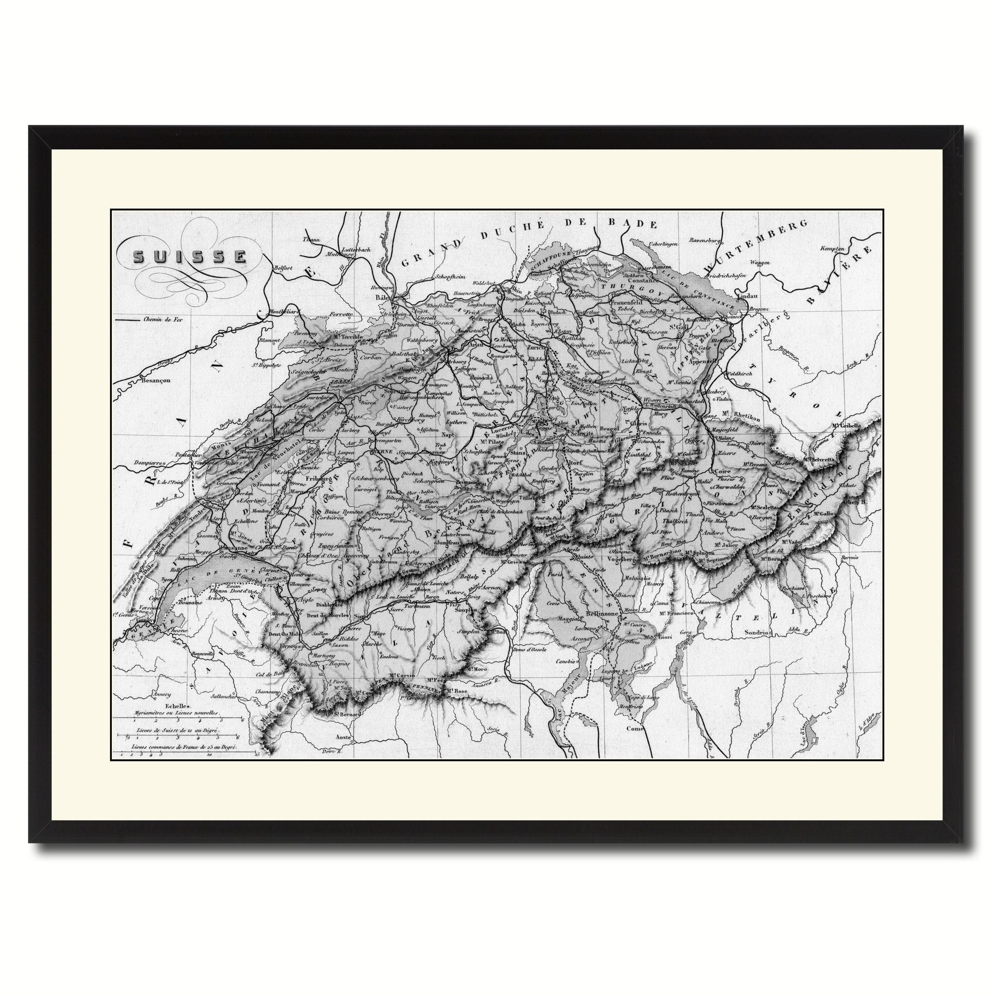 Home interiors and gifts framed art - Switzerland Vintage B W Map Canvas Print Picture Frame Home Decor Wall Art Gift Ideas