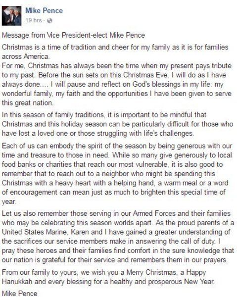 Tennessee GOP @TEN_GOP 1h1 hour ago  A Christmas message from Vice President-elect Mike Pence. Truer words have never been spoken! Thank you.
