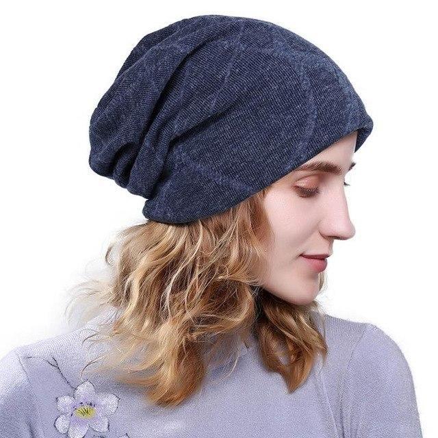 5381befa3b2627 1Pcs Winter Hats Women Casual Cap Baggy Beanies Skullies Bonnet Gorro Blue