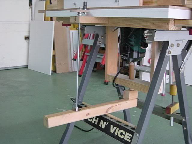 Router lift simple and effective workshop routers good day after i made the mortising jig for the router table a few posts down i thought that to bent under the bench every pass to lift the bit keyboard keysfo Image collections