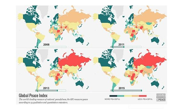 Global peace index 2008 2015 maps pinterest peace my thoughts on world peace essay mapped how the world became more violent telegraph gumiabroncs Images