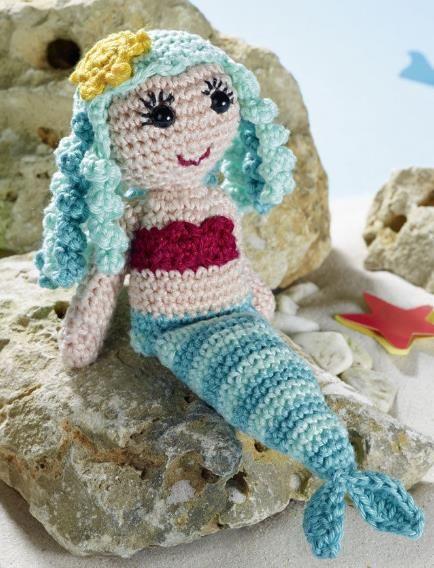 Die Meerjungfrau Puppe Hat Schöne Lockige Haare Häkelanleitung Via
