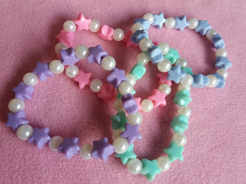 custom size CUTE Iridescent pinki star iridescent stars bracelet cute kawaii beaded pastel beautiful handmade word  fairy kei cool letters
