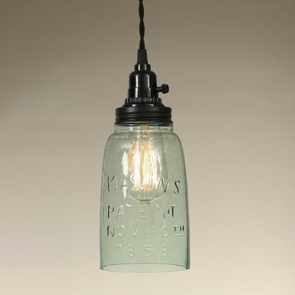 Includes a half gallon Mason jar with no bottom. Use these for higher wattage bulbs such as 40 or 60 watts. Shown with our 40 watt vintage bulb, not included. With the open bottom and ventilation on t