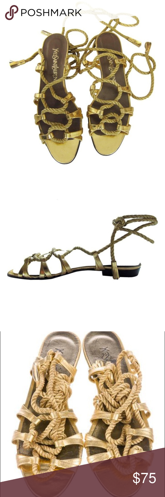 223f85db0ad Yves Saint Laurent Golden Rope Tassel Sandal 1970s These are Gorgeous golden  leather and rope gladiator