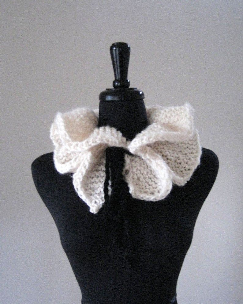 Photo of Off White or Black Color Option Knitted Scarf Collar Necklet Scarflette with Black Cord