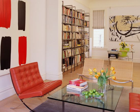 Contemporary Living Room With Modern Bookshelves Design Also Red Amazing Chairs Designs Living Room Design Decoration